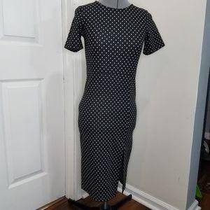 Zara black and white polka dot pencil dress S